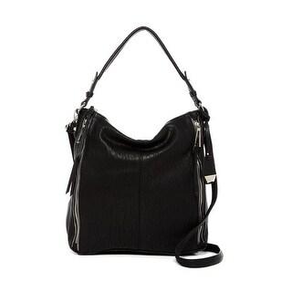 Jessica Simpson Womens Baylinn Hobo Handbag Faux Leather Convertible - Black - MEDIUM