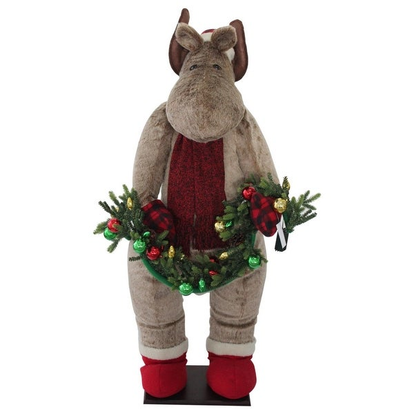 "52"" Red and Brown Christmas Moose Inflatable"