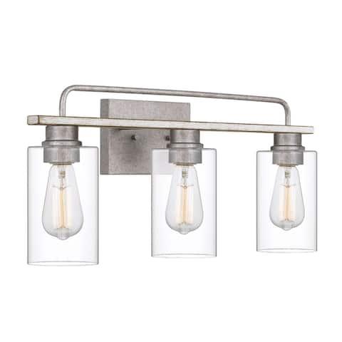 "Nemo 3-Light Galvanized & Antique White Wash Wood Vanity Light 9.63"" - Standard Size"