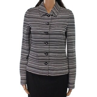Karl Lagerfeld NEW Black White Womens Size Medium M Striped Jacket