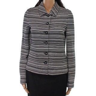 Karl Lagerfeld NEW Black White Womens Size XS Striped Stretch Jacket
