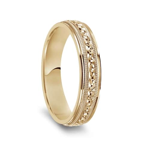 14k Yellow Gold Milgrain Accented Womens Polished Wedding Ring - 4mm