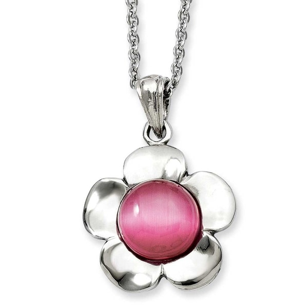 Stainless Steel Flower with Pink Cat's Eye Pendant 18in Necklace (2 mm) - 18 in