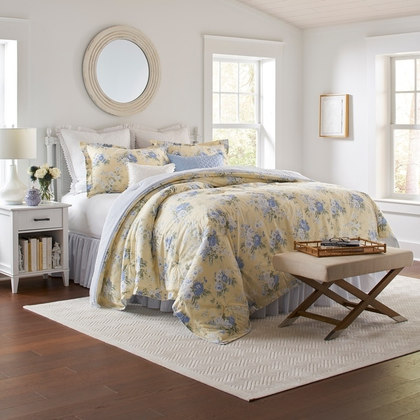 Laura Ashley 100% Cotton Percale_Maybelle - Yellow Comforter Set. Opens flyout.