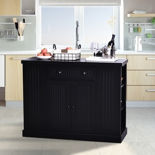 HomCom Fluted-Style Wooden Kitchen Island Storage Cabinet with Drawer, Open Shelving, and Interior Shelving
