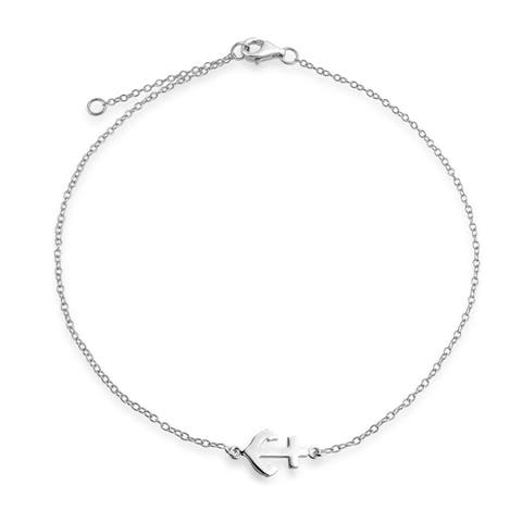 Nautical Side Boat Anchor Charm Anklet Ankle Bracelet 925 Sterling Silver Adjustable 9 to 10 Inch with Extender