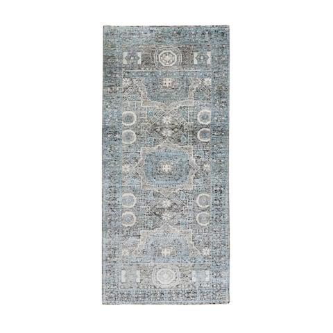 "Shahbanu Rugs Silk With Textured Wool Hi-Low Pile Mamluk Design Runner Hand Knotted Oriental Rug (2'8"" x 6'1"") - 2'8"" x 6'1"""