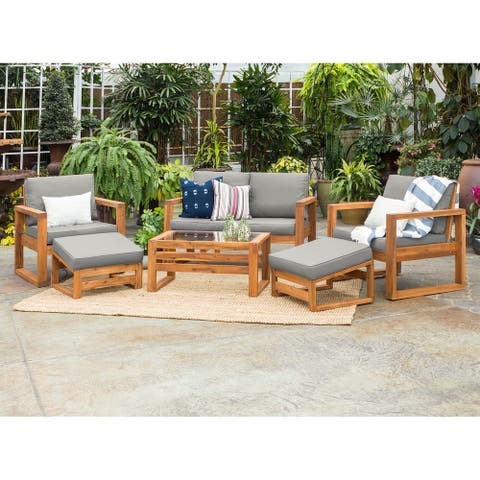 6-Piece Hudson Brown Acacia Outdoor Chat Set with Grey Cushions