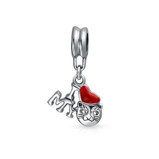 Bling Jewelry I Love My Cat Red Enamel Heart Dangle Bead Charm .925 Sterling Silver