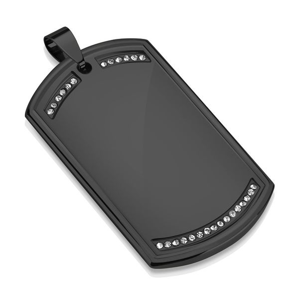Paved Clear CZ Black IP Stainless Steel Dog Tag Pendant (30.5 mm Width)