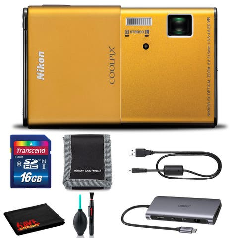 Nikon CoolPix S80 Digital Camera (Gold) Includes 16GB SD Kit and Cleaning Kit