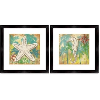 """PTM Images 1-32938 20 Inch x 20 Inch """"Tropical Feel II"""" Two Piece Framed Giclee Art Print Encased In Glass - N/A"""