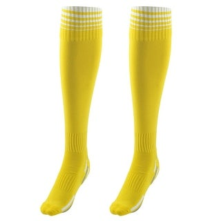 Unisex Anti Slip Stripe Pattern Elastic Football Soccer Long Socks Yellow Pair