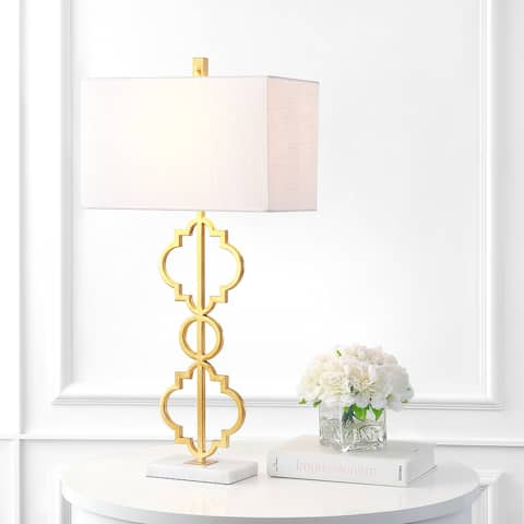 """Selina 32"""" Iron Ogee Modern LED Table Lamp, Gold by JONATHAN Y"""