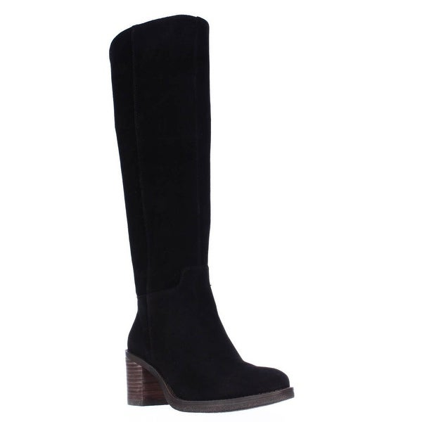 Lucky Brand Ritten Block Heel Riding Boots, Black