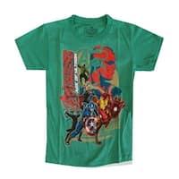Marvel Little Boys Green Avengers Character Print Short Sleeved T-Shirt