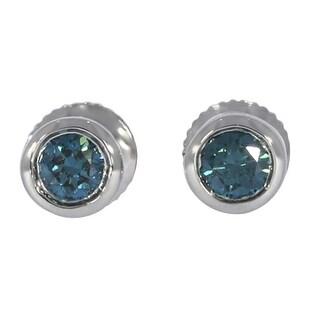 Prism Jewel Round Brilliant Cut Bezel Set Blue Diamond Screw Back Stud Earring