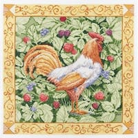 Bucilla Paul Brent Counted Cross Stitch Kit, 12 by 12-Inch, 45627 Berry Patch Rooster