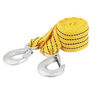 Unique Bargains 2.8m 3Tons Nylon Spring Loaded Towing Emergency Towing Strap Rope Yellow