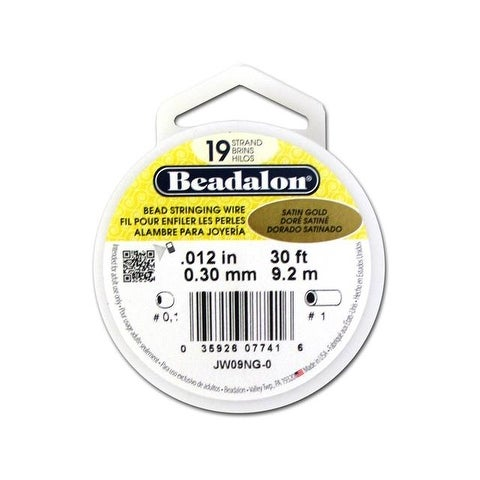 "Beadalon Bead Wire Pkg 19Strand .012"" Satn Gld 30'"