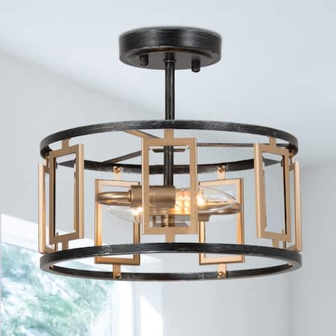 """2-Light Black and Gold Semi Flush Mount Ceiling Light in with Geometric Drum Shade for Dining Room - D12"""" x H10.5"""""""