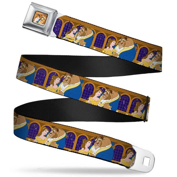 Belle & Beast Ball Scene Full Color Beast & Belle Ball Scene Poses2 Webbing Seatbelt Belt