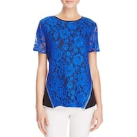 Dora Landa Womens Blouse Silk Lace Overlay