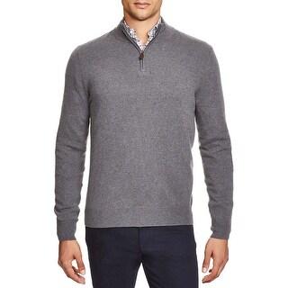 Bloomingdales Mens 2-Ply Cashmere Half Zip Mock Neck Sweater Blue Hazel