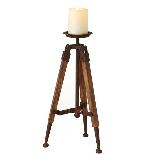 16 Large Vintage Rust And Old Wood Tripod Pillar Candle Holder Na