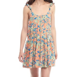 Free People NEW Orange Womens Size Medium M Floral-Print Shift Dress