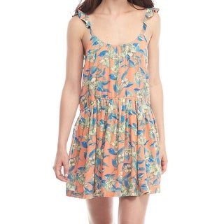 Free People NEW Orange Womens Size Medium M Ruffle Floral Shift Dress