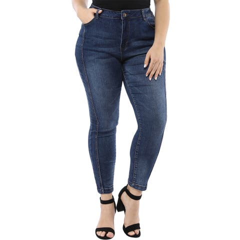 Women's Plus Size Mid Rise Stretch Washed Skinny Jeans - Blue