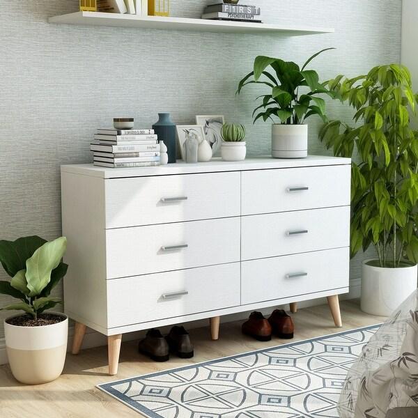 Carson Carrington Gjovik Modern White 6-drawer Dresser. Opens flyout.