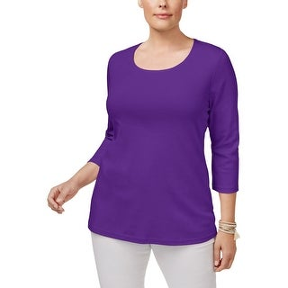 Karen Scott Womens Plus Pullover Top Scoop Neck Basic