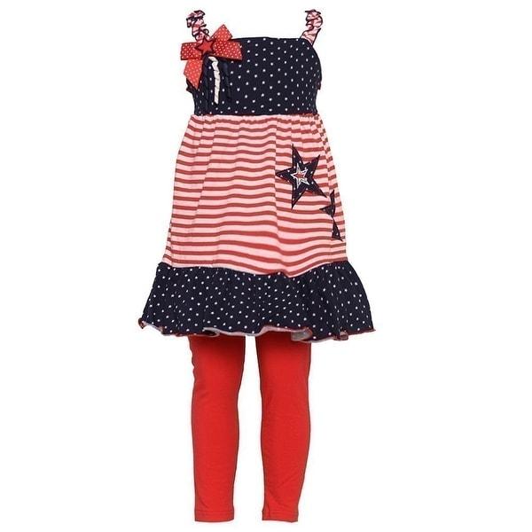 Good Lad Baby Girls Navy Red Stripe Print Star Patriotic Legging Set 12M