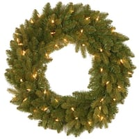 """24"""" Avalon Spruce Wreath with Clear Lights - green"""