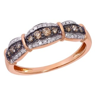 Prism Jewel 0.31ct Round Cut Brown Color Diamond with Diamond Anniversary Ring - White G-H