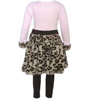 Little Girls Brown Pink Leopard Spot Faux Legging Outfit 2T