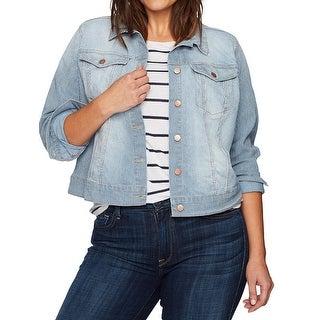 Jessica Simpson NEW Blue Womens Size Medium M Pinstripe Cropped Jacket