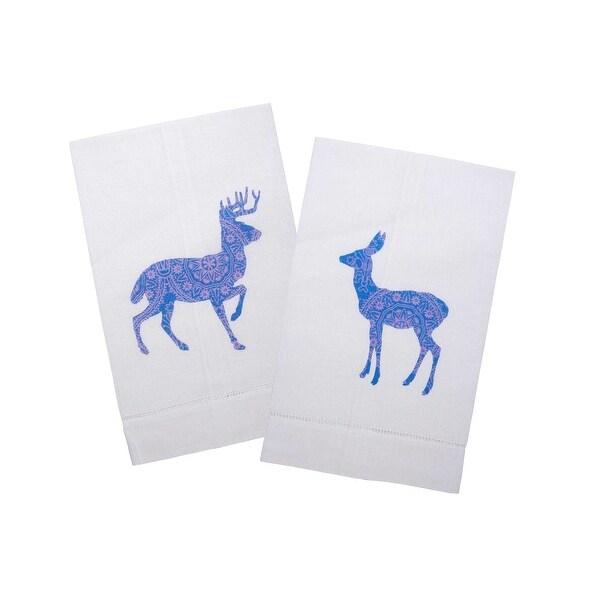 Dashing Deer Silhouette Graphic Printed Linen Tea Towels