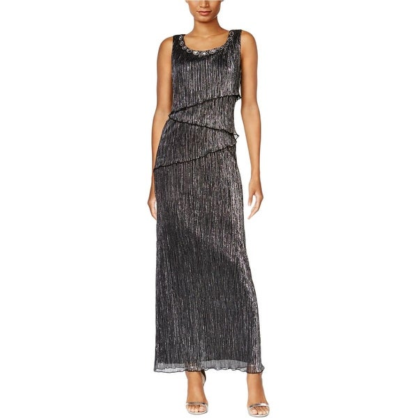 Connected Apparel Womens Formal Dress Metallic Embellished
