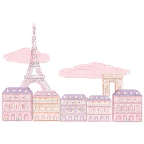 Brewster DWPK2712 9 Piece Oui Oui Paris Kids Wall Decorating Kit - Pink
