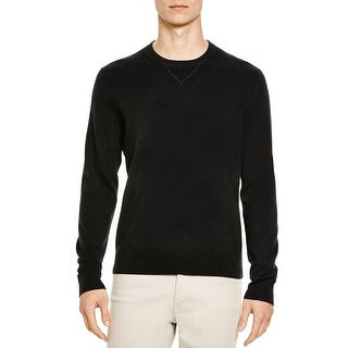Bloomingdales Mens Cashmere Crewneck Sweater Large L Black Knitwear