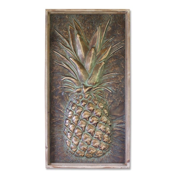 """Metallic Pineapple Plaque Wall Decoration 43.25"""" - N/A"""
