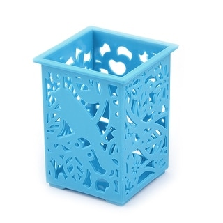 Office Desk Plastic Hollow Out Pen Sundries Stationery Storage Box Holder Blue