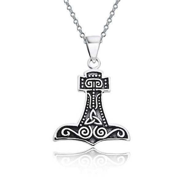 Shop Celtic Knot Viking Thors Hammer Pendant Necklace For Men Women Oxidized 925 Sterling Silver With Chain Ships To Canada Overstock 17987959