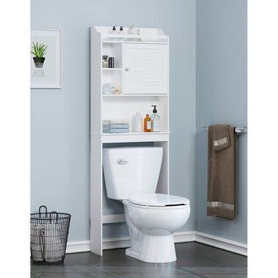 Spirich Home Bathroom Shelf Over The Toilet, Bathroom Cabinet Organizer Over Toilet with Louver Door,White