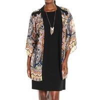 Tiana b Black Printed 2pc Women's Size 14 Shift Jacket Dress