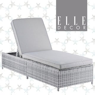Elle Decor Vallauris Outdoor Storage Chaise Lounge Gray Wicker