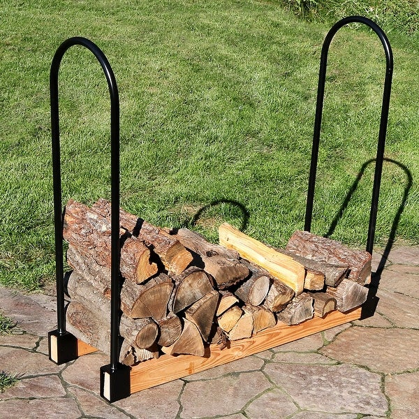 Sunnydaze Steel Adjustable Firewood Log Rack Bracket Kit Up to 16 Feet Wide